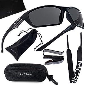Polarized Sports Sunglasses for Men and Women – UV400 Protective and Glare Blocking – w. Bundle