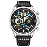Stuhrling Original Mens Chronograph Aviator Watch - Skeleton Pilot Watch with Tachymeter and Leather Strap Dress Watches Ace Aviator 45mm Watch (Black Silver)