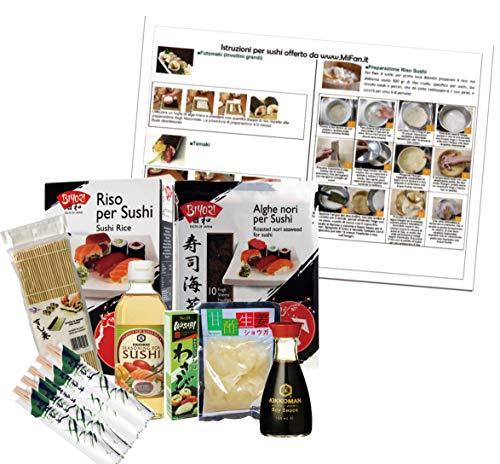 Set ingredienti e strumenti per sushi, manuale sushi, alghe nori, aceto di riso, salsa di soia, wasabi, zenzero per sushi,...