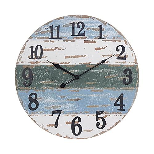 HAWOO 18 Inch Large Farmhouse Wall Clocks, Handmade Shiplap Wood Beach Theme Coastal Wall Clock, Nautical Clock for Living Room Decor, Rustic Vintage Kitchen Wall Clock, Weathered Blue