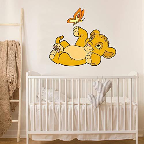 Wandaufkleber 3D König Der Löwen Simba Spielen Schmetterling Wandtattoo Kinderzimmer Kinderzimmer Cartoon Interior Wall Art