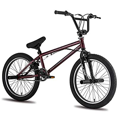 Hiland Kids BMX Bike for Boys Teenager Girls Freestyle Bicycle with Pegs 360 Rotor Double U-Brakes Wine Red