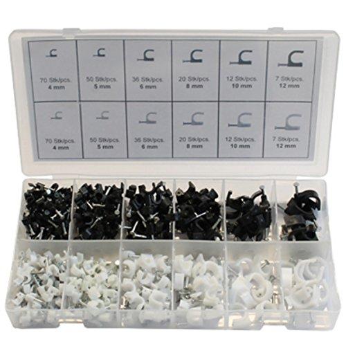 Nagelschellen 4-12mm Kunststoff 390tlg. Sichtbox Kabelschelle Kabelklemmen