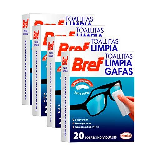 Bref Toallitas Limpiadoras para Gafas, Smartphones, Cámaras, Espejos y otros Dispositivos y Superficies 20 Unidades - Pack de 4, Total: 80 Unidades