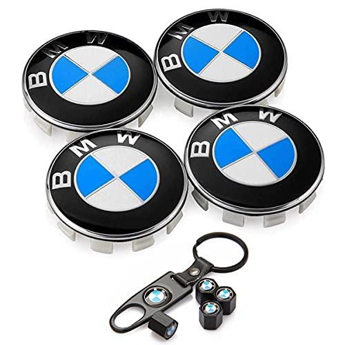 Set of 4 - Fit BMW Wheel Center Caps Emblem,68mm/2.68' fit BMW Rim Center Hub Caps with Bonus 4PCS Tire Valve Cover and 1PC Keychain Fit for BMW
