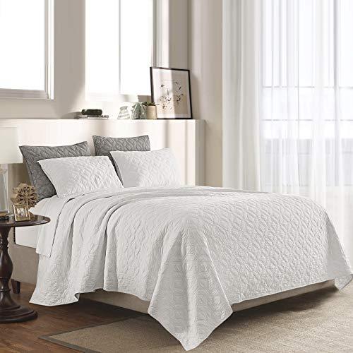 SHALALA NEW YORK Baumwoll-Voile-Steppdecken-Set mit 2 gesteppten Kissenbezügen – ultraweiche gewaschene Decke – solide geometrische genähte Tagesdecke – atmungsaktiv bequem (New White, Full/Queen)