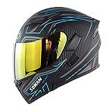 WANGJJJ Blue Lightning Full/Open Face Motorradhelm Modularer Double Sun-Visier Klappbarer Vorderer...