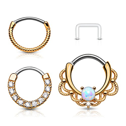 FIFTH CUE 16G Lacey Single Opal Set 14Kt. Gold Plated Round Bar Septum Clicker Ring 316L Surgical Steel (Rose Gold Combo)