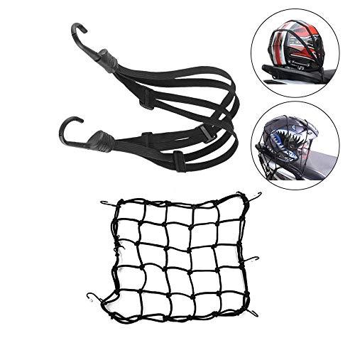 RXYOS - Red elástica para equipaje (40 x 40 cm) y correa elástica para equipaje de 60 cm con ganchos para bicicleta, moto, fijar, casco de equipaje, bolsa de red de transporte (negro)