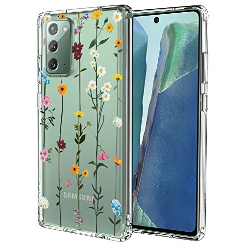 for Samsung Galaxy Note 20 Case, for Samsung Galaxy Note 20 5G Case, MOSNOVO Crystal Clear Slim Soft TPU + PC Cover Case with Wildflower Design Case for Galaxy Note 20 (2020)