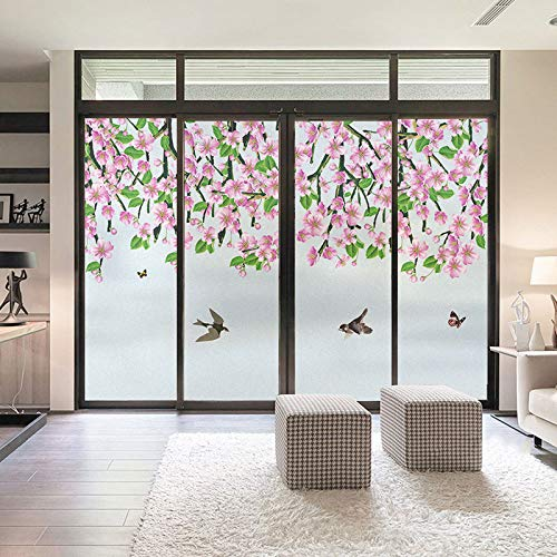 """Decortive Bird and Flower Frosted Window Film Static Cling Non Adhesive Stained Glass Sticker UV Blocking Heat Control Window Film for Bathroom Home Kitchen Office 31.5""""x49.2""""(80x125cm)"""