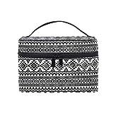 HaJie - Bolsa de maquillaje de gran capacidad, organizador étnico tribal geométrico azteca de viaje portátil, neceser bolsa de almacenamiento de aseo para mujeres y niñas