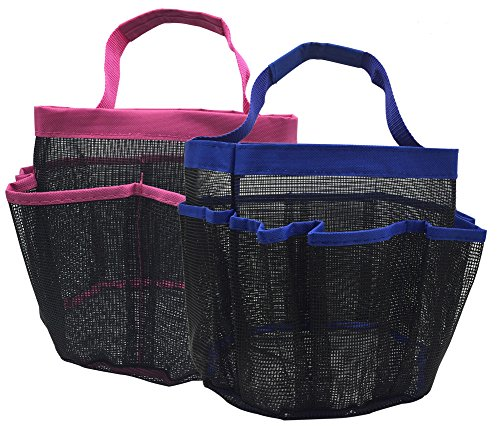 kinla Mesh Shower Caddy Tote,Quick Dry Dorm Hanging Shower Caddy,Bath Organizers Perfect for Bathroom Dorm School and Travel 2 Pack