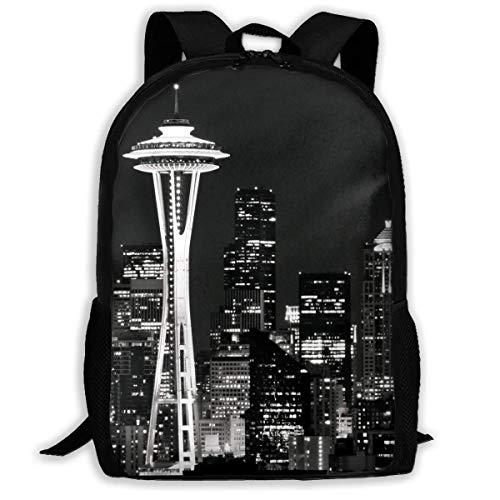 ADGBag Seattle Skyline at Night Fashion Outdoor Shoulders Bag Durable Travel Camping for Kids Backpacks Shoulder Bag Book Scholl Travel Backpack Sac à Dos pour Enfants