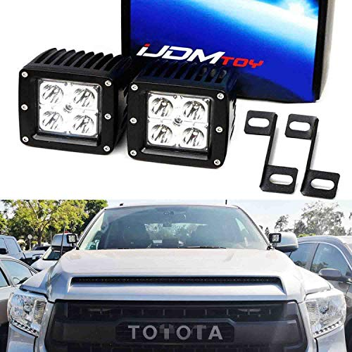 iJDMTOY A-Pillar LED Pod Light Kit Compatible With 2007-up Toyota Tundra, Includes (2) 20W High Power CREE LED Cubes, Windshield A-Pillar Mounting Brackets & On/Off Switch Wiring Kit