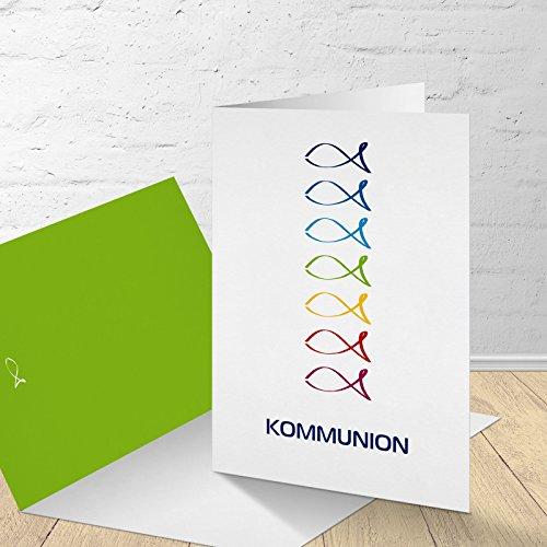 5 Karten zur Kommunion mit passenden Umschlägen, Motiv