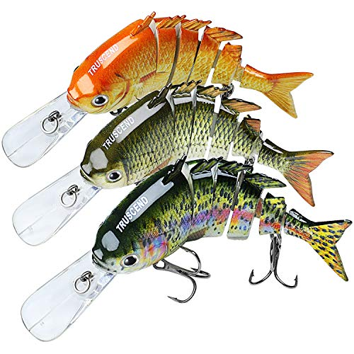 TRUSCEND Topwater Fishing Lures for Bass, Multi Jointed Swimbait, Lifelike Sunfish/Duck/Mouse Swimmer for Trout Perch Pike Crappie Walleye,Fishing Gifts for Men