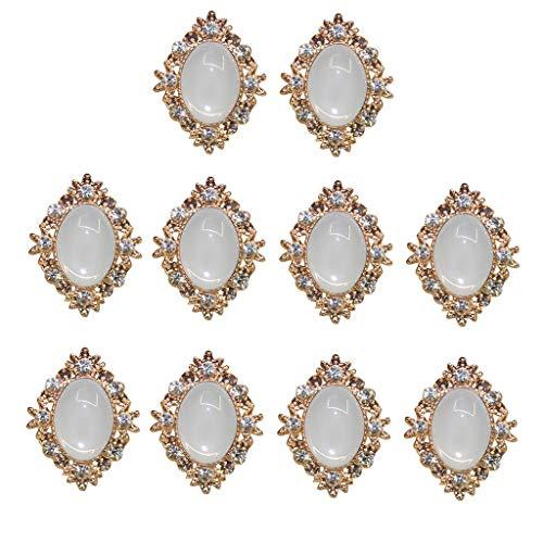 VektenxiRetro Vintage Gold Kristall Perle Strass Knöpfe 25 MM Flatback Verzierungen für DIY Hochzeitskleid Kleidung Handwerk Dekor, 10 Stücke tragbar und nützlich