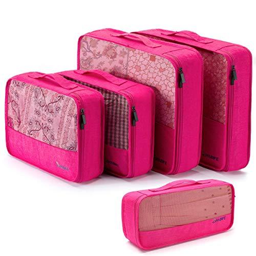 Packing Cubes, 5-Teiling Kleidertaschen Set, mit 2 GroßE + 2 Mittlere + 1 Kleine GrößE Packwürfel Koffer Set, Kompressionsbeutel Packing Cubes für Packtasche, Make-Up-Set, WäSchebeutel Reise