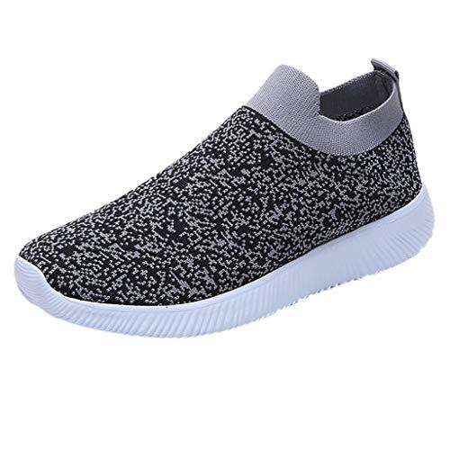 MRULIC Damen Laufschuhe Outdoor Mesh Lässige Sportschuhe Atmungsaktive Schuhe Turnschuhe Sneakers Leichte Gestrickte Schuhe Racer Fitnessschuhe (Grau,EU-39/CN-40)