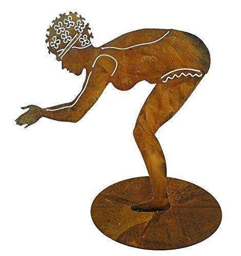 Klocke Edelrost Dekor Gartenfiguren Metall XL - Maritime Figur: Rost Schwimmerin auf Bodenplatte (Fester Stand) - Höhe 95cm - Metallfigur Garten/Dekofigur/Gartendekoration