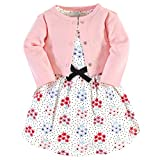Touched by Nature Baby Girls Organic Cotton Dress and Cardigan, Floral Dot, 6-9 Months