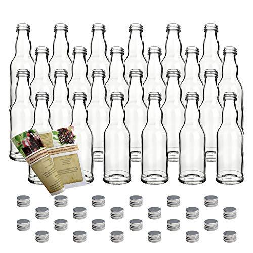 gouveo 24er Set Leere 200 ml Kropfhals Glasflaschen incl. Schraubverschluss Silber und 28-seitige Flaschendiscount-Rezeptbroschüre Likörflaschen Schnapsflaschen Essigflaschen Ölflaschen