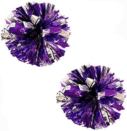 "Bstgifts 14"" 2 Pack Plastic Pom Poms Cheerleading Pom Poms Sports Dance Cheer Plastic Pom Pom for Rooters,Cheering Squard,Cheering Team (Purple+Silver)"