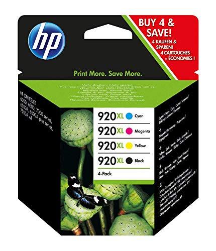 HP 920XL C2N92AE Combo Pack Confezione da 4 Cartucce XL per Stampanti a Getto d'Inchiostro, Compatibili con Officejet Serie 6000 e 7000 per Grandi Formati, Nero, Ciano, Giallo, Magenta