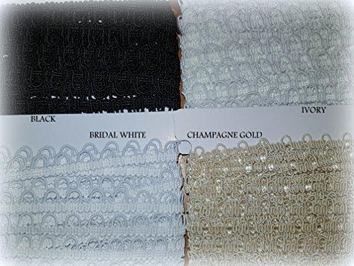Knopfloch, Schleifenband, 10 mm Abstand, für Brautkleid, Trimmverschluss 1 m Elfenbeinfarben blass