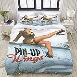 YOUMEISU Pin up Wings 2 Silvester,Juego de Ropa de Cama con Funda nórdica de Microfibra y 2 Funda de...