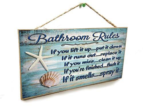 Blackwater Trading Seashells Bathroom Rules If It Smells Spray It Beach Sign Plaque 5