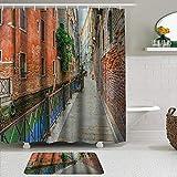 LISNIANY Conjunto De Ducha Cortina Alfombra,Venecia Coloridas Calles idílicas vacías de Venecia Destino del Viaje Románticos Edificios Antiguos,Uso en baño, Hotel