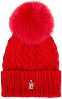 Moncler Grenoble Men's Red Cabled Knit Wool Pom Pom Beanie Hat