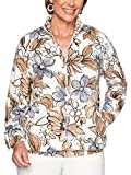 Alfred Dunner Women's Classics Floral Polar Fleece Jacket, Neutral, Large by Alfred Dunner