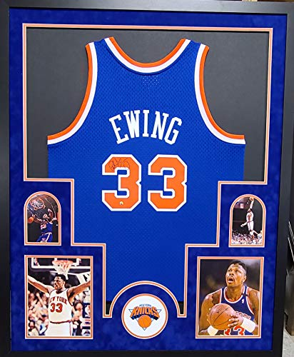 Patrick Ewing New York Knicks Signed Autograph Custom Framed Jersey Suede Matted Mitchell & Ness 4 Picture Steiner Certified