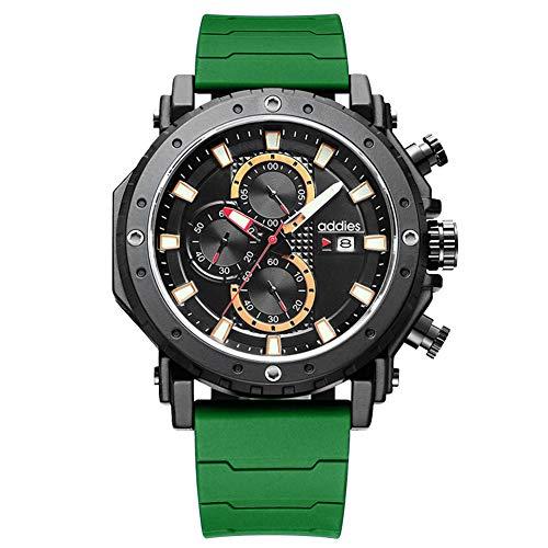 Wan&ya Reloj de Cuarzo Deportivo para Hombre Reloj de Pulsera Digital multifunción para Exteriores 50M Impermeable LED Cronómetro Luminoso Reloj Despertador Podómetro Reloj analógico Militar,Verde