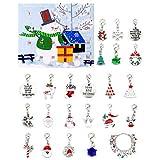 Venhoy Weihnachts DIY Kalender Geschenkbox Set Weihnachtsthema Armband Anhänger 22 pc Weihnachtsmann Weihnachtsbaum Schneeflocke Schneemann Anhänger Kinder & Mädchen