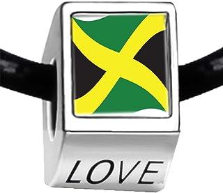 シルバーメッキ ジャマイカ国旗 フォト LOVE チャーム ビーズブレスレット ヨーロピアンブレスレット
