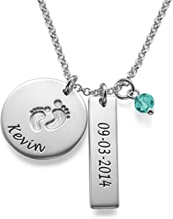 Personalized Baby Feet Bar Necklace with CZ Birthstone-Dangle Engraved Jewelry