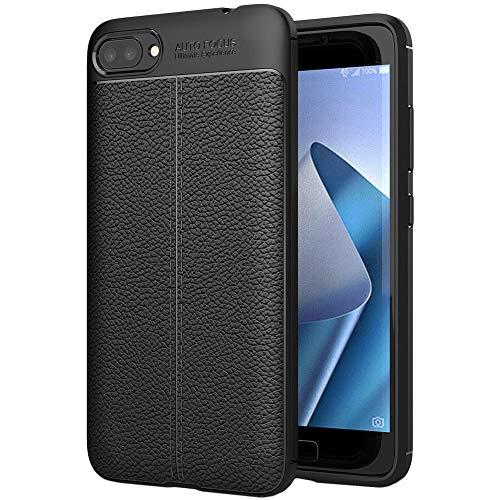 ebestStar - kompatibel mit Asus Zenfone 4 Max Hülle ZC554KL (Pro, Plus) Lederhülle Design TPU Handyhülle Schutzhülle, Flex Silikon Hülle, Schwarz [Phone: 154 x 76.9 x 8.9mm, 5.5'']