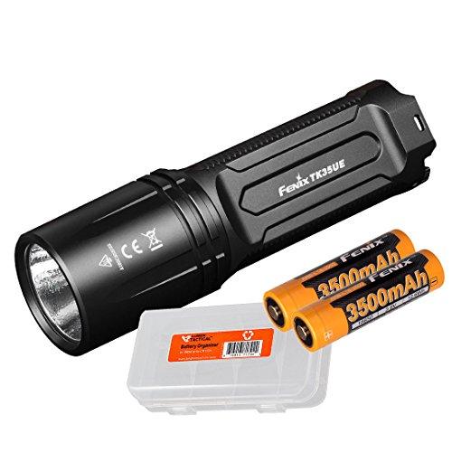 Fenix TK35 Ultimate Edition 2018 3200 Lumens Rechargeable LED Flashlight w/ 2x Genuine Fenix 3500mAh Rechargeable Batteries & Lumen Tactical Battery Organizer