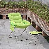 Decor Sillas reclinables con Taburete de pie Alto Ajustable Ajustable Sillón reclinable Plegable Sillón de Gamuza Jardín Sillón para Camping al Aire Libre Interior (Verde) (Color : Green)