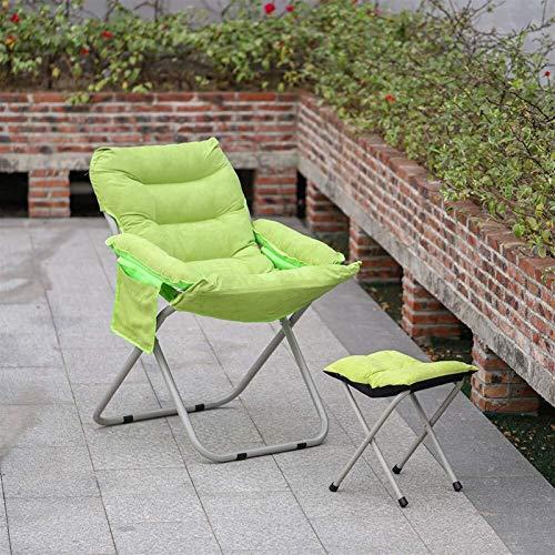 Chaises inclinées avec des tabourets de pied haut dos Réglable pliable pliable fauteuil inclinable en daim de jardin chaise salon pour camping extérieur en plein air (vert) (Color : Green)