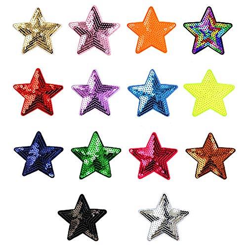 Ceqiny 14 parches para planchar o coser. Pegatinas de lentejuelas en forma de estrella. Parches decorativos. Mochilas de tela para mujer y hombre. Color aleatorio.