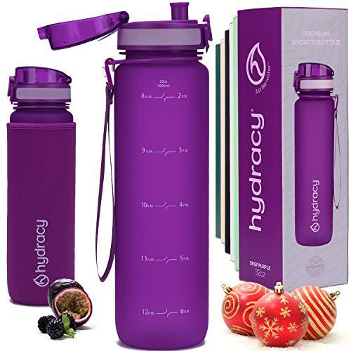 Hydracy Botella de Agua 1 Litro con Marcador de Tiempo - Sin BPA con Filtro de Infusion de Frutas - Antigoteo y sin Sudor - Ideal para el Ejercicio y los Deportes al Aire Libre - Purpura