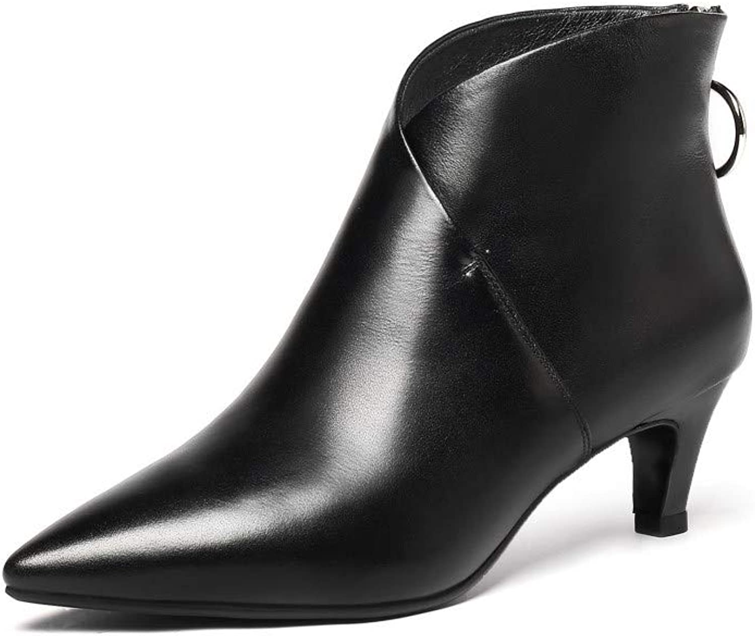 Nine Seven Genuine Leather Women's Pointed Toe Chunky Low Heel Back Zip Handmade V Cut Graceful Walking Dress Ankle Booties