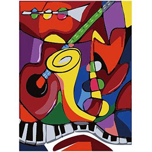 Saxofoon instrument stilleven DIY Digitaal schilderen op nummer Moderne kunst aan de muur Canvas schilderij Kerstcadeau Woondecoratie 40x50cm