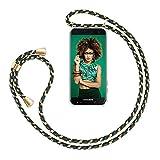 ZhinkArts Handykette kompatibel mit Samsung Galaxy A6 2018 - Smartphone Necklace Hülle mit Band - Handyhülle Hülle mit Kette zum umhängen in Grün Camouflage