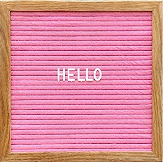 Changeable Pink Felt Letter Board with 3/4 Inch White Letters, Numbers & Symbols, 12x16 Inches, Changeable Wooden Message Board Sign, Oak Wood Frame, Wall Mount, Plastic Stand, Letter Pouch & Cutter.